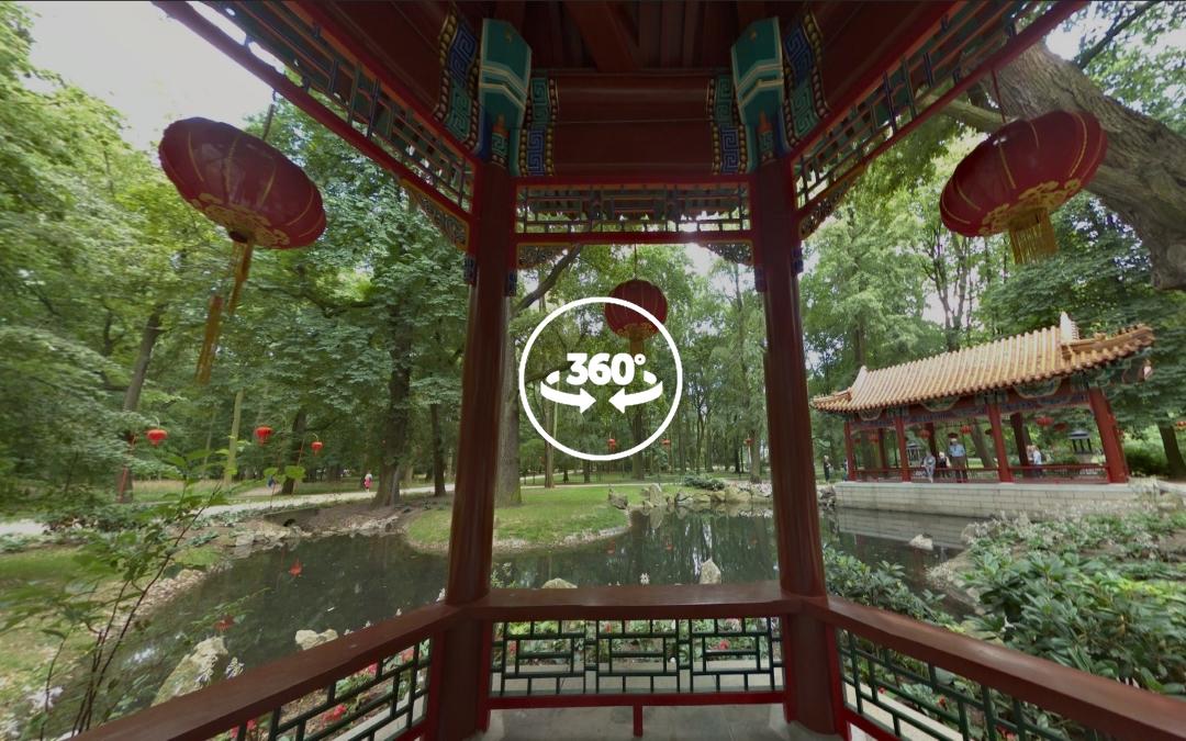 Foto 360 Dentro de zona dedicada a la cultura china del Parque Łazienki. VidePan en Polonia