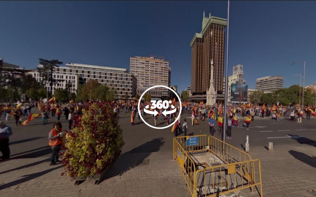 Foto 360 Manifestación por la unidad de España en la Plaza Colón de Madrid